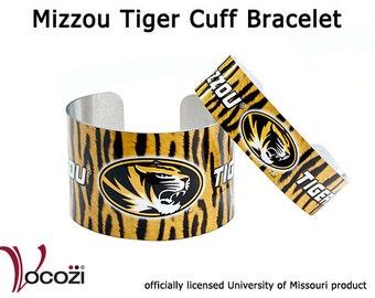 Mizzou Tiger Aluminum Cuff Bracelet - Gold and Black Tiger Stripes -