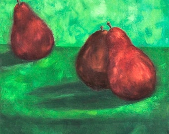 Red Pears Against Green, 14 x 18, oil on canvas