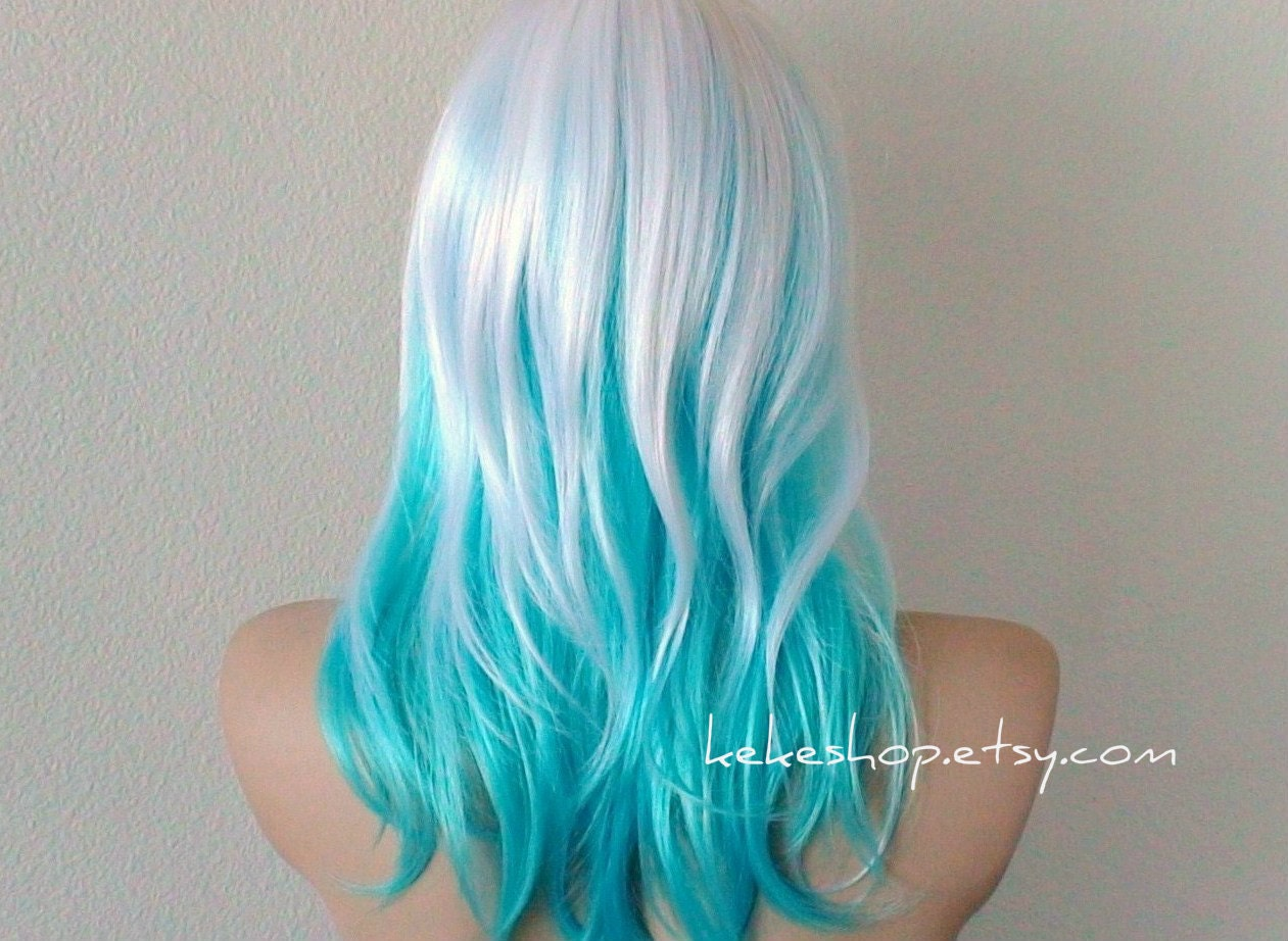 White Blue Ombre Hair Wig Medium Length Straight Layered