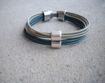SALE Sage Green and Teal Leather Multi Strand Bracelet with Silver Double Barrel Slider Bead and Silver Clasp