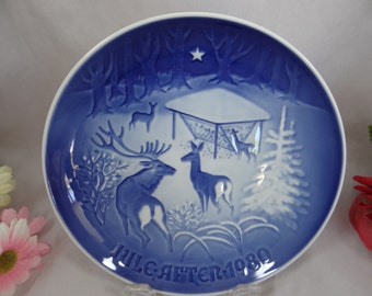 1980 Bing & Grondahl B G Christmas Collector Plate - Christmas in the Woods