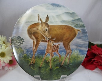 "1985 Edwin Knowles ""A Reassuring Touch"" Signs of Love Series Deer Plate with COA and Original Box"