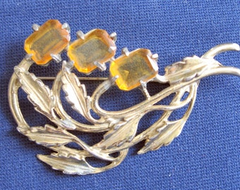 Vintage 1960s Amber Gem Leaves Brooch