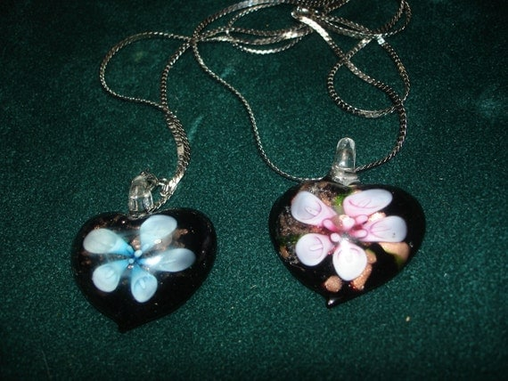 Two Foil Glass Flower in Heart Necklaces