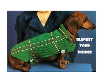 Digital Download Cozy Knit Dachshund Sweater Pattern - Fun Vintage Knitted Doggy Coat PDF Pattern File Knitting Supplies Knitting Patterns