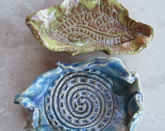 Pinched Tiny Pottery Free Form Dishes / Yellow Ochre Fish or Bluegreen Spiral; Earrings, Jewelry Dish, Stamped Rustic Pottery, Wasabi Dish