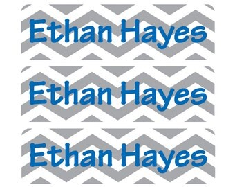 Personalized, waterproof, dishwasher-safe, vinyl baby bottle labels, Chevron Daycare Labels, Customizable