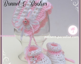 Crochet Pattern Baby Bonnet and Booties; Pearls and Lace PDF 14-137 INSTANT DOWNLOAD
