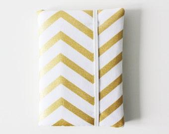 Passport Cover, Passport Case, Passport Wallet, Travel Wallet, Travel Organizer - Gold - Bridesmaid Gift - Chevron