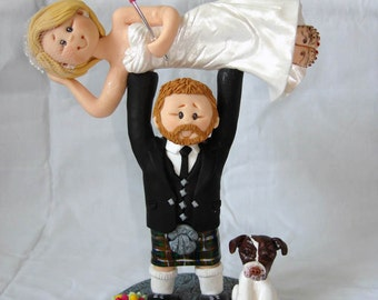 Groom lifting / weightlifting bride wedding cake topper -Taking orders for October 2014 onwards Only