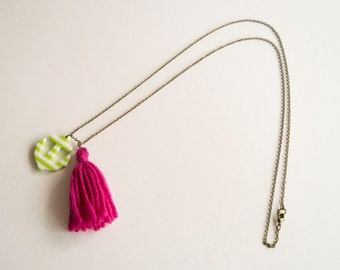 Nautical necklace green & white anchor and pink wool tassel