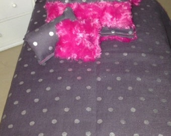 """Hot Pink and Gray American Girl Doll or 18"""" Doll Beding Set"""
