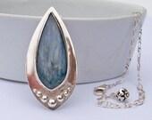 Sterling Silver Kyanite Pendant Necklace, Bezel Set Semi-Precious Denim Blue Gemstone Teardrop Shaped Large Metal Pendant, Handmade Jewelry