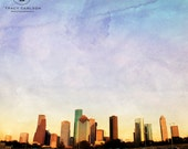 Downtown Houston Texas photography - decorative photography print - wall art - home decor - skyline architecture - square