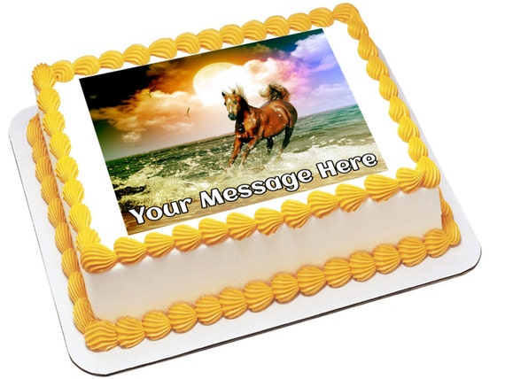 Edible Cake Images Horses : Personalized Edible Icing Image Birthday Decoration Mustang