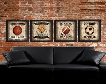 Famous Sports Quotes - Set of 4 SQUARE photo prints -  Poster Wall Art Beige Tan Black Vintage Soccer Baseball Football Basketball Boys Room