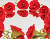 Roses in red dress Patches material for cornet