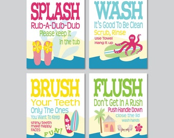"Childrens Kids Girls Bathroom Art Prints Set of (4) 8"" x 10"" Surf Board Theme // Fine Art Home Decor"