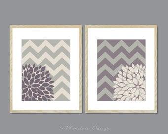 "Floral Bursts Dahlia Wall Art Prints with Chevrons Set of (2) 5"" x 7"", 8"" x 10"" OR 11"" x 14"" Modern Home Decor // UNFRAMED Art"