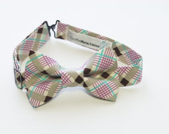 Bow Tie - Brown and Purple Plaid Bowtie