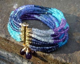 Sapphire Bracelet, Aquamarine Cuff, Multi Strand Bracelet, Color Block Bracelet, Gemstone Bracelet, Semi Precious Bracelet, Gemstone Cuff