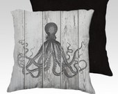 """18"""" X18"""" """"Octopus Distressed Painted on Slatted Fence"""" Pillow Zippered Cover / Case.SUPER Luxurious Soft!"""