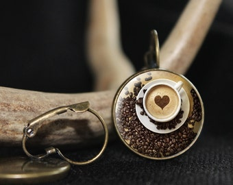 Cappuchino Earrings, Coffee, Coffee Earrings, Earrings, Heart, Coffe Lover, Coffee jewelry