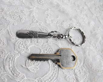 Small Key Chain - Upcycled Vintage Silver Plated Silverware Keychain with Split Ring Flower Design