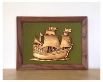 Framed Plaster Clipper Ship with Green Velvety Background