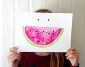 SALE!! Watermelon summer smile watercolour and ink pen illustration art print A4 Size