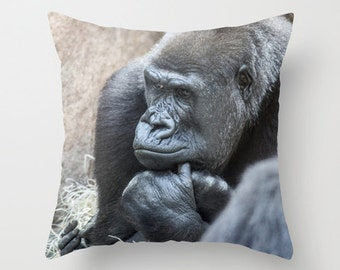 Gorilla Photo Pillow Pillow cover Throw pillow Cushion covers Pillow case Accent pillow Couch pillow Decorative pillows Animal Photo 16x16