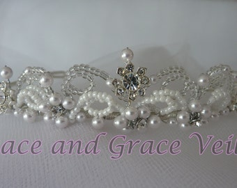 Rhinestone Flower Tiara with Pearls- Choice of Handmade Bow on Comb - Flower Girl or First Communion