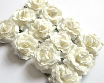 Ivory Mulberry Paper Roses - 12 Pack