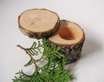 One economy Log ring box. Engagement ring box made from douglas fir wood. Gift for her. Wedding gift.