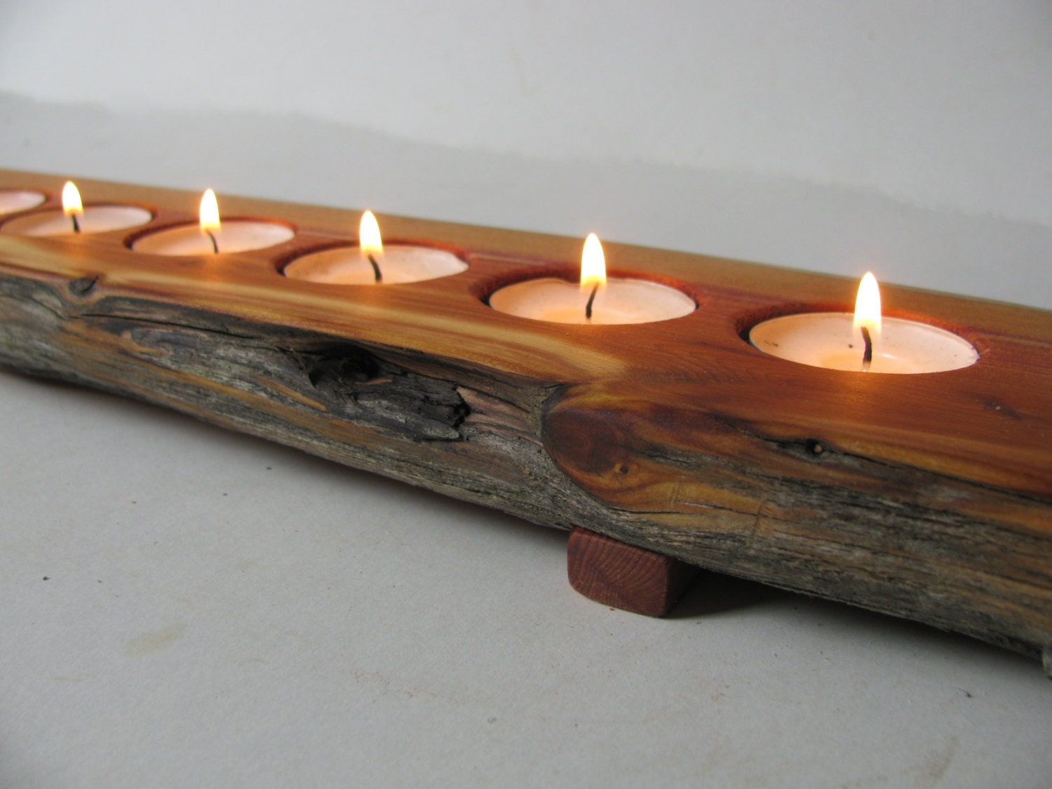 Split Log Candle Holder Rustic Juniper Wood Tea By Woodacooda