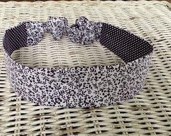 Purple Flower Fabric Headband - Reversible Polka Dot Headband