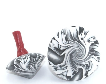 Clasic toy for all ages, 2 black and white Spinning tops, unique abstract pattern, polymer clay dreidels, gift idea