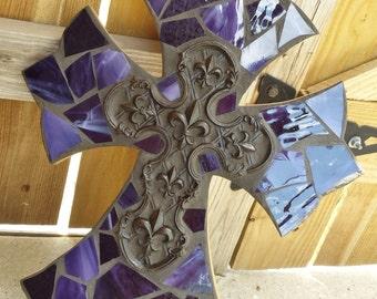 Purple Mosaic Cross in Purple Stained Glass - mosaic cross with fleur de lis cast iron cross center