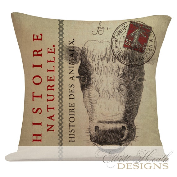 Pillow Cover French Style Farmhouse Burlap by ElliottHeathDesigns