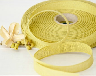 "Chartreuse Cotton Ribbon - 3 or 6 Yards of 100% Cotton Ribbon - 1/2"" Wide -Lemon Grass Ribbon -Buy More & Save - Eco Friendly Cotton Ribbons"