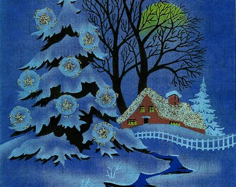 BLUE Christmas! Vintage Christmas Card Illustration. Digital Christmas Download. Printable Christmas Image. Digital Christmas Print.