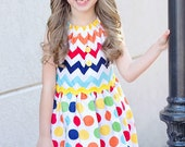 The Morgan Dress- With Flutter Sleeves in Rainbow Chevron and Polka Dots...Custom, Boutique, sizes 12, 18 months, 2T, 3T, 4, 5, 6, 7