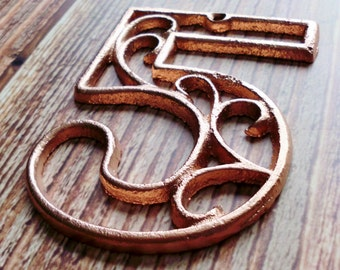 house number five metallic copper cast iron wall hangers decorative house warming gift 45 inches table - Decorative House Numbers