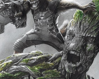 Drawing Print of Rocket Raccoon and Groot in Guardians of the Galaxy