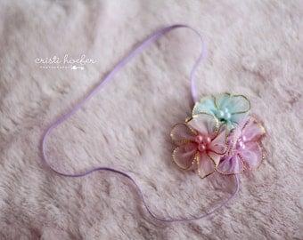 x { Pastel Princess } Headband, Baby Headband, Photography Prop, Newborn Headband, Flower Headband, Couture Headband, Spring Headband