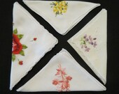Four Embroidered Vintage Handkerchiefs