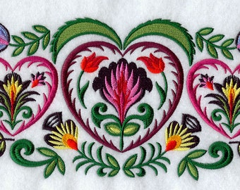Wycinanki Heart Trio Embroidered on Made-to-Order Pillow Cover