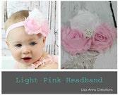 Pink Baby Headband Newborn Headband Infant Headband Toddler Girls - 1st Birthday Cake Smash Wedding Photo Prop