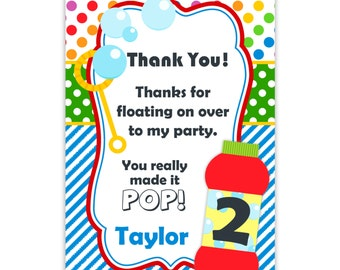 Bubble Party Thank You Card - Rainbow Polka Dots, Blue Stripes, Red Bubbles Personalized Birthday Party Thank You - a Digital Printable File