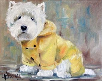 PRINT White Westie West Highland Terrier Dog Art Oil Painting Beach Ocean Sand Summer / Mary Sparrow